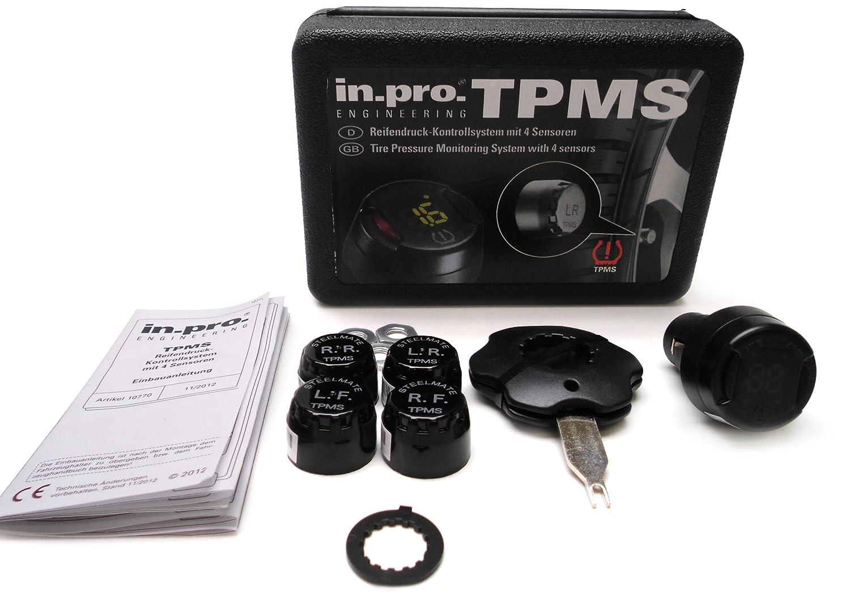 in.pro Sistema TPMS di controllo della pressione dei pneumatici, con 4 sensori con 4sensori i10770