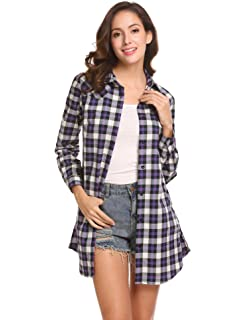 1f03a314402 Concep Women s Long Sleeve Check Flannel Plaid Shirt Button Down Blouse Tops