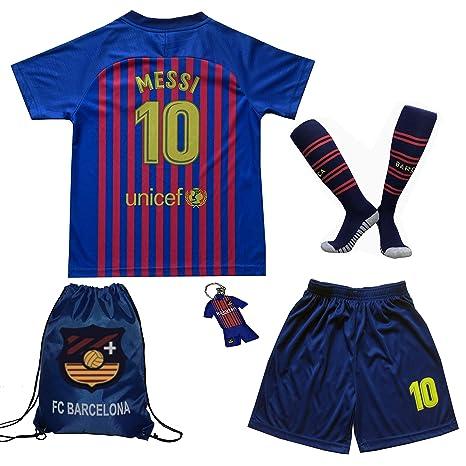 BIRDBOX Youth Sportswear Barcelona Leo Messi 10 Kids Home Soccer Jersey Shorts  Bag Keychain Football f6f6a740c