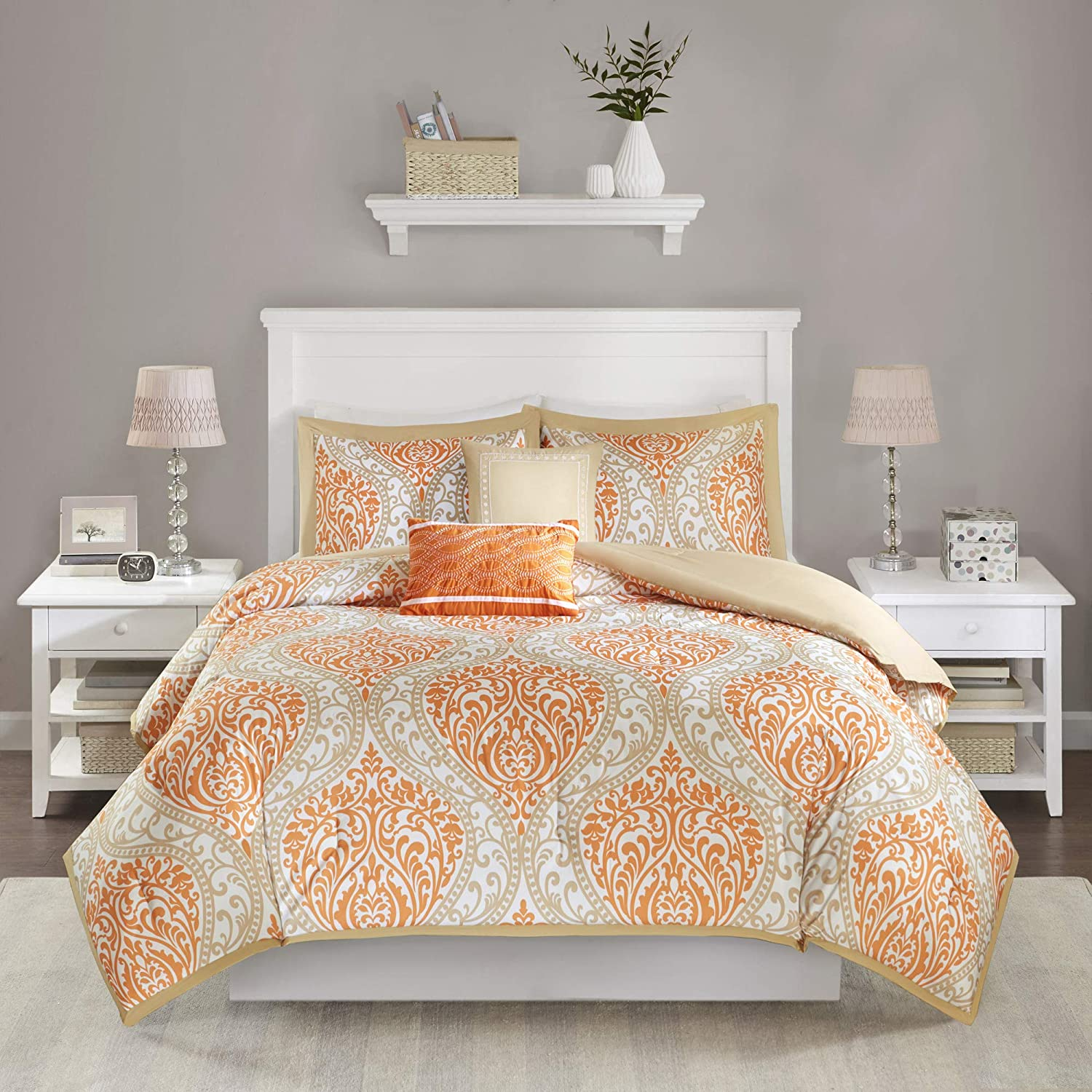 Amazon Com Intelligent Design Id10 001 Senna Comforter Set Twin Twin Xl Size Orange Taupe Damask 4 Piece Bed Sets All Season Ultra Soft Microfiber Teen Bedding Great For Dorm Room And