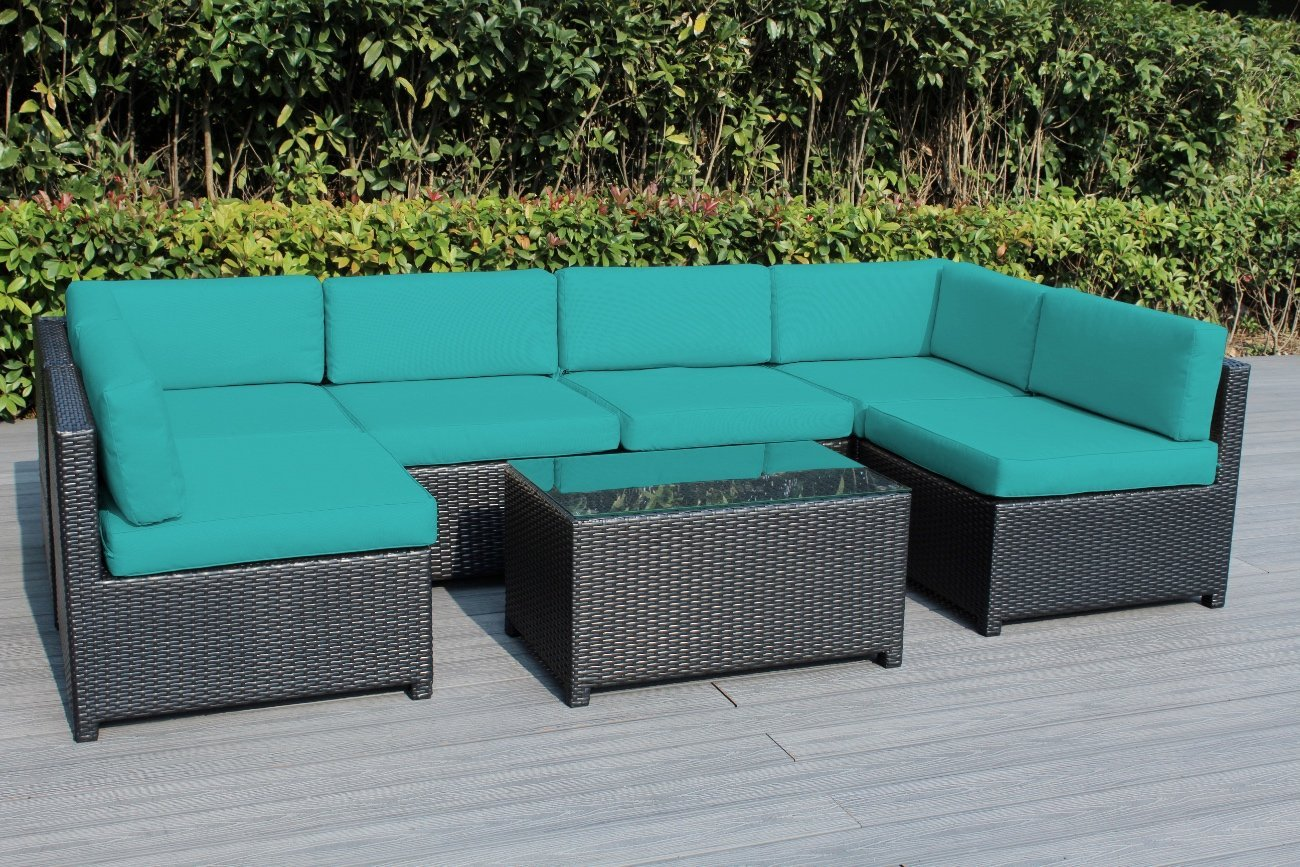 Merveilleux Amazon.com: Ohana Mezzo 7 Piece Outdoor Wicker Patio Furniture Sectional  Conversation Set, Black Wicker With Turquoise Cushions   No Assembly With  Free ...