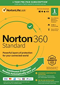 Norton 360 Standard – Antivirus Software for 1 Device with Auto Renewal – Includes VPN, PC Cloud Backup & Dark Web Monitoring Powered by LifeLock [Key Card]