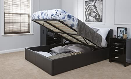 Caspian Ottoman Gas Lift Up Storage Bed   Black 4ft6 Double
