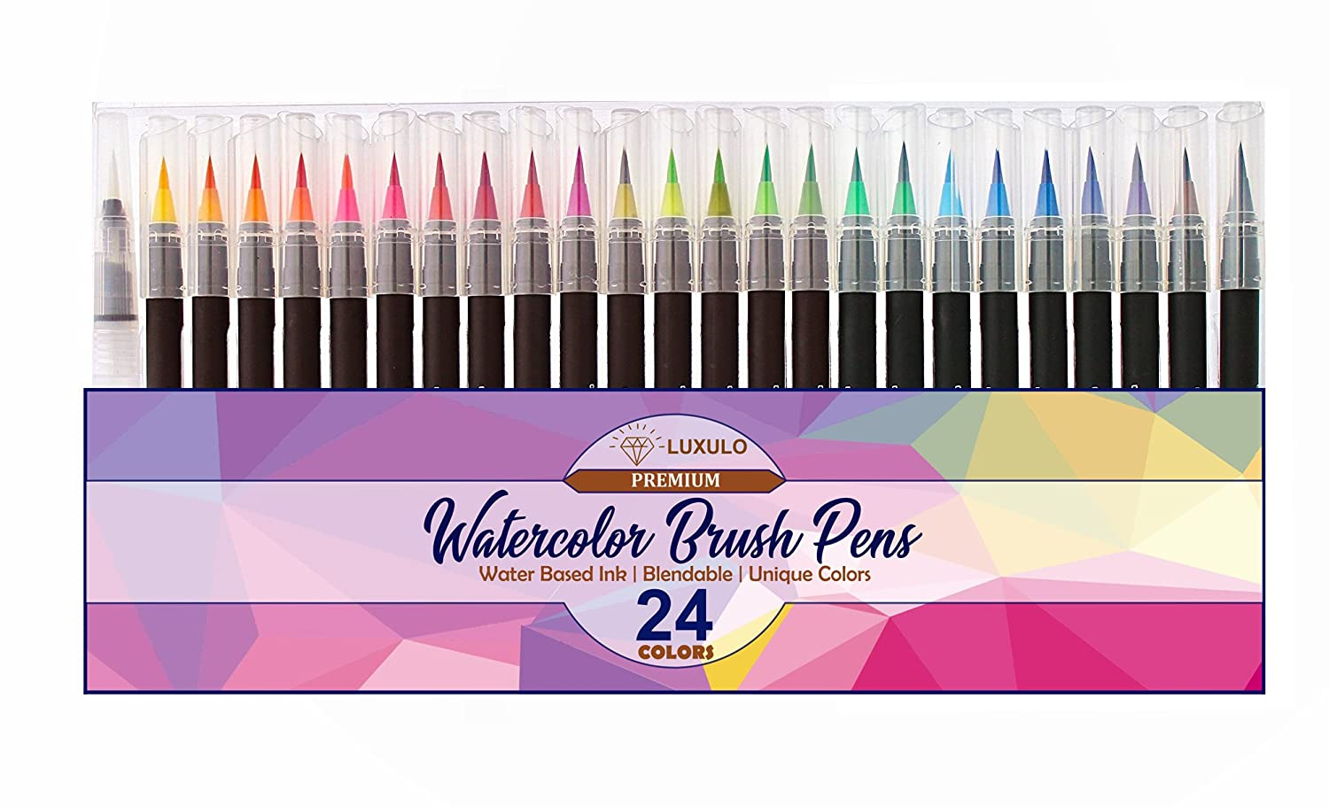 Watercolor Brush Pens, 24 Color Art Pens Set, Best Brush Tip for Painting, Drawing, Coloring Books, Calligraphy and More 4336954861