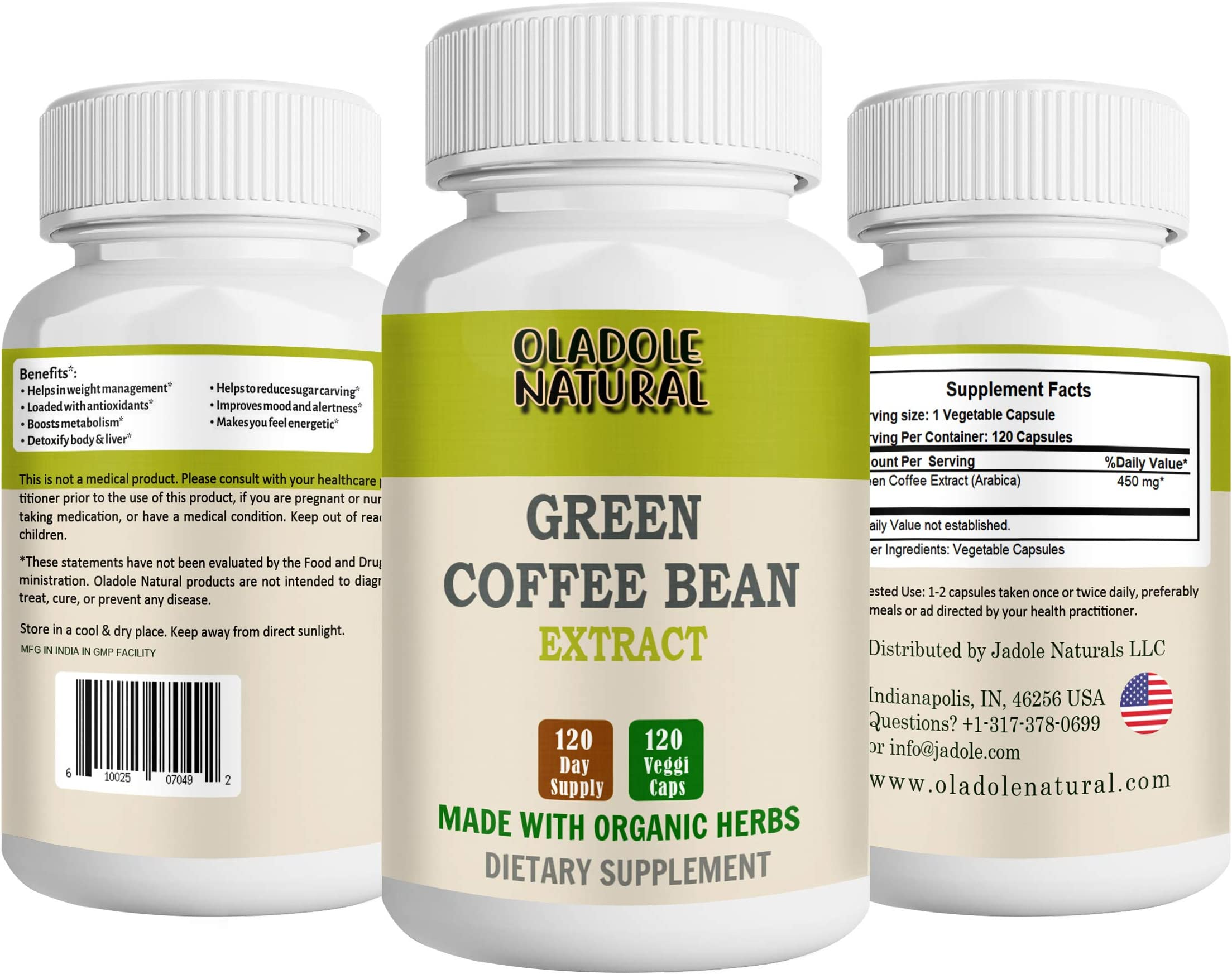 Pure Green Coffee Beans 450 Mg 120 Capsules By Oladole Natural
