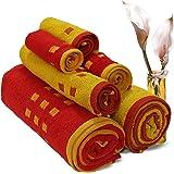 Spaces Atrium 6 Piece 450 GSM Cotton Towel Set - Red and Gold