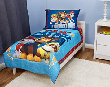 Amazon.com : Paw Patrol Here to Help 4 Piece Toddler Bedding Set ...