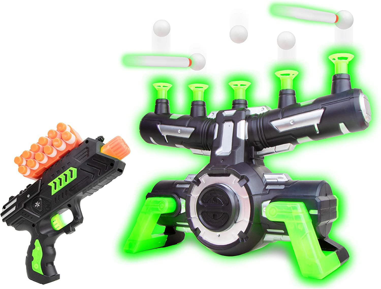 USA Toyz Astroshot Zero GX Glow in The Dark Shooting Games – Target Practice Toys for Boys and Girls with Foam Dart Gun, 10 Floating Ball Targets, and 5 Flip Targets