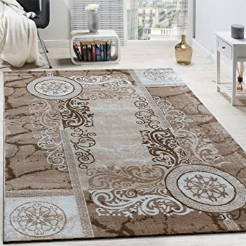 paco home designer teppich modern meliert floral mit versace muster kreise beige creme grsse - Versace Muster