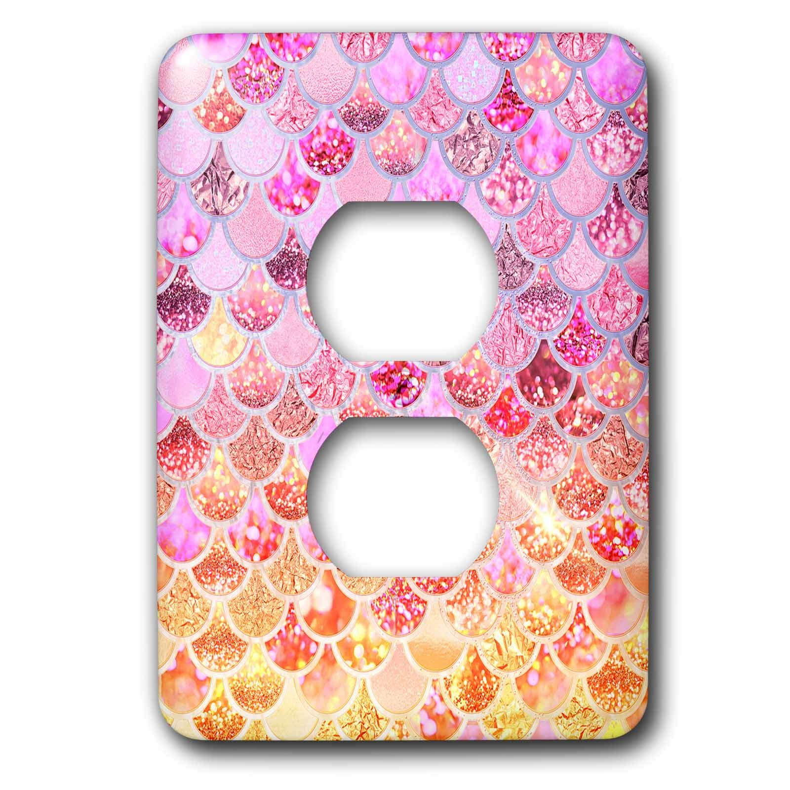 3dRose Uta Naumann Faux Glitter Pattern - Image of Pink Gold Shiny Luxury Elegant Mermaid Scales Glitter - Light Switch Covers - 2 plug outlet cover (lsp_275452_6)