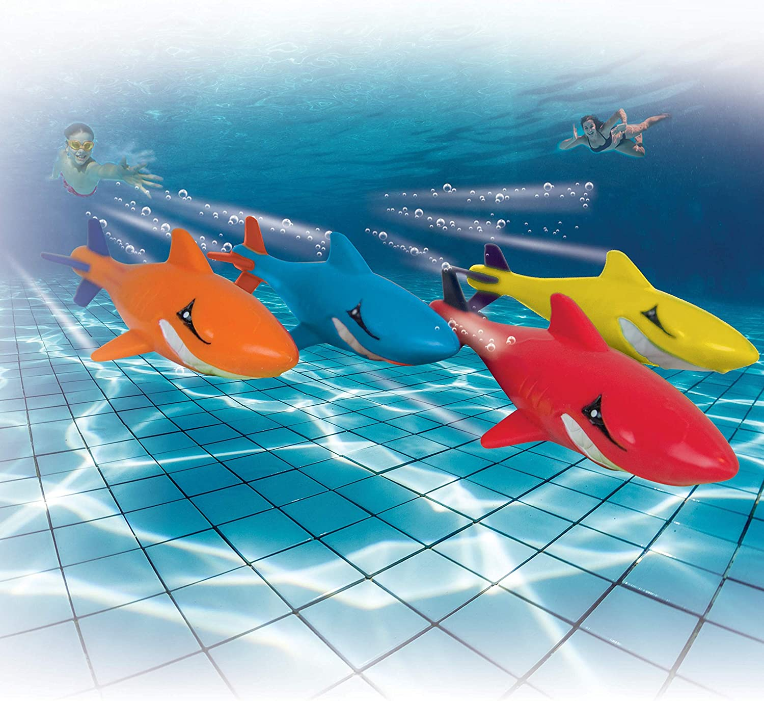 Prime Time Toys 7-Pack Sharkpedo Diving Masters Underwater Gliders - Pool Diving Toy - Assorted Colors (8413-7)