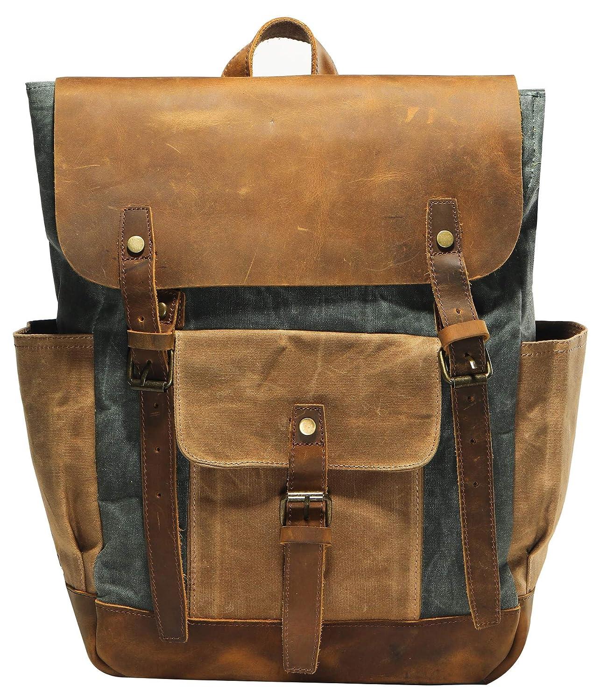 Vintage Waterproof Waxed Canvas Leather laptop computer Backpack College School Bookbag Travel Rucksack 15.6 -Lake green