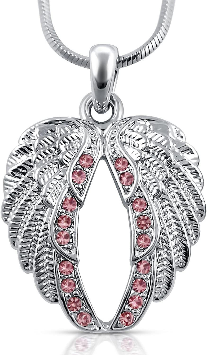Gold Gift Jewelry Necklace Full Crystal Wing Long Chain Guardian Angel Pendant
