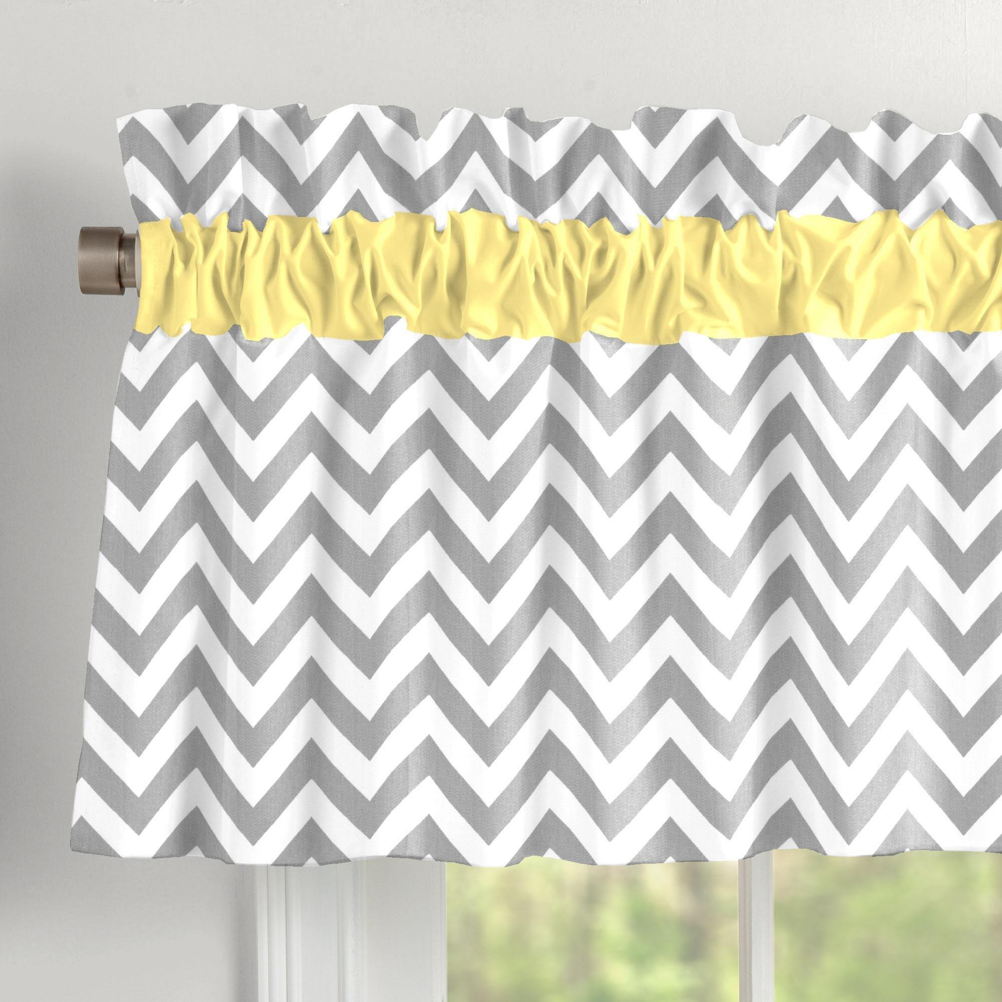 Carousel Designs Gray and Yellow Zig Zag Window Valance Rod Pocket