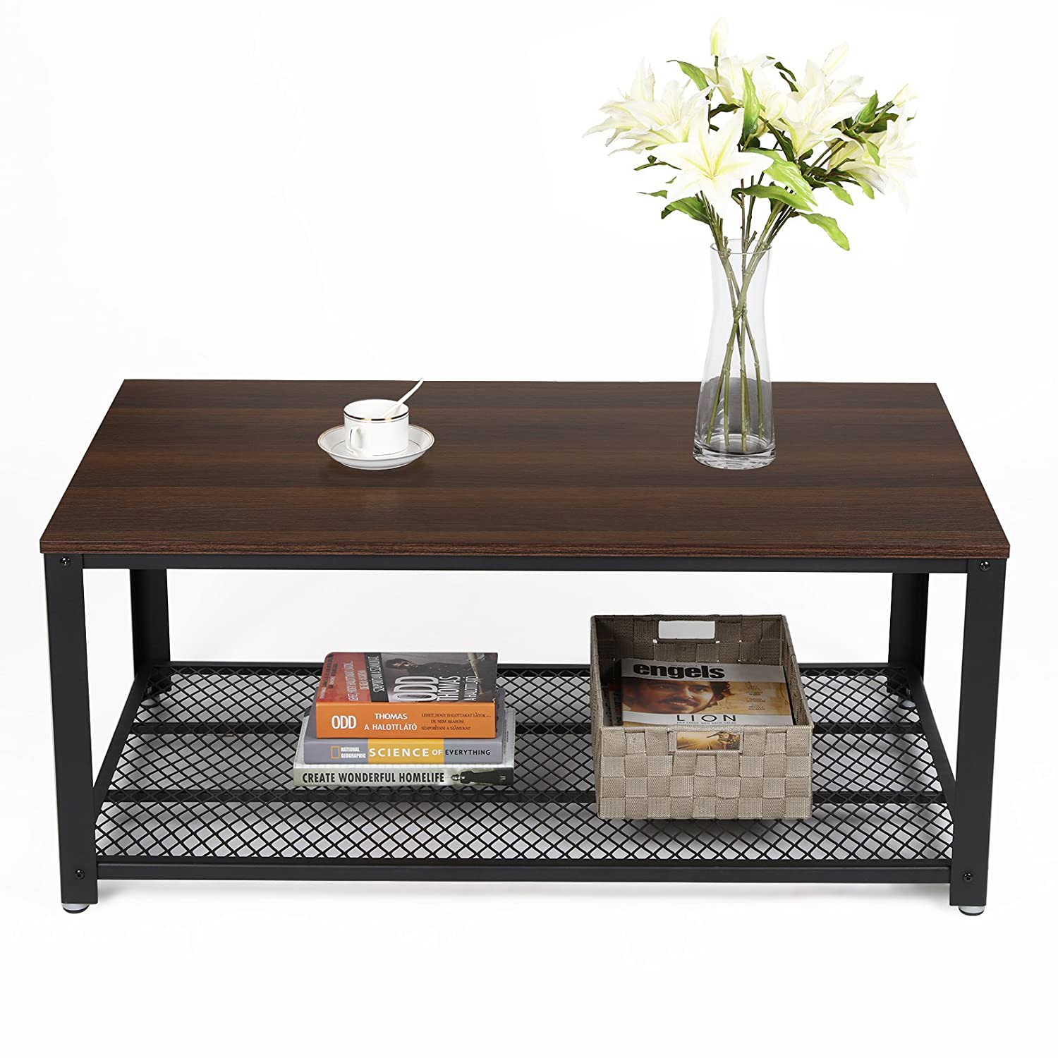 Amazon SONGMICS Antique Coffee Table Dark Walnut Cocktail