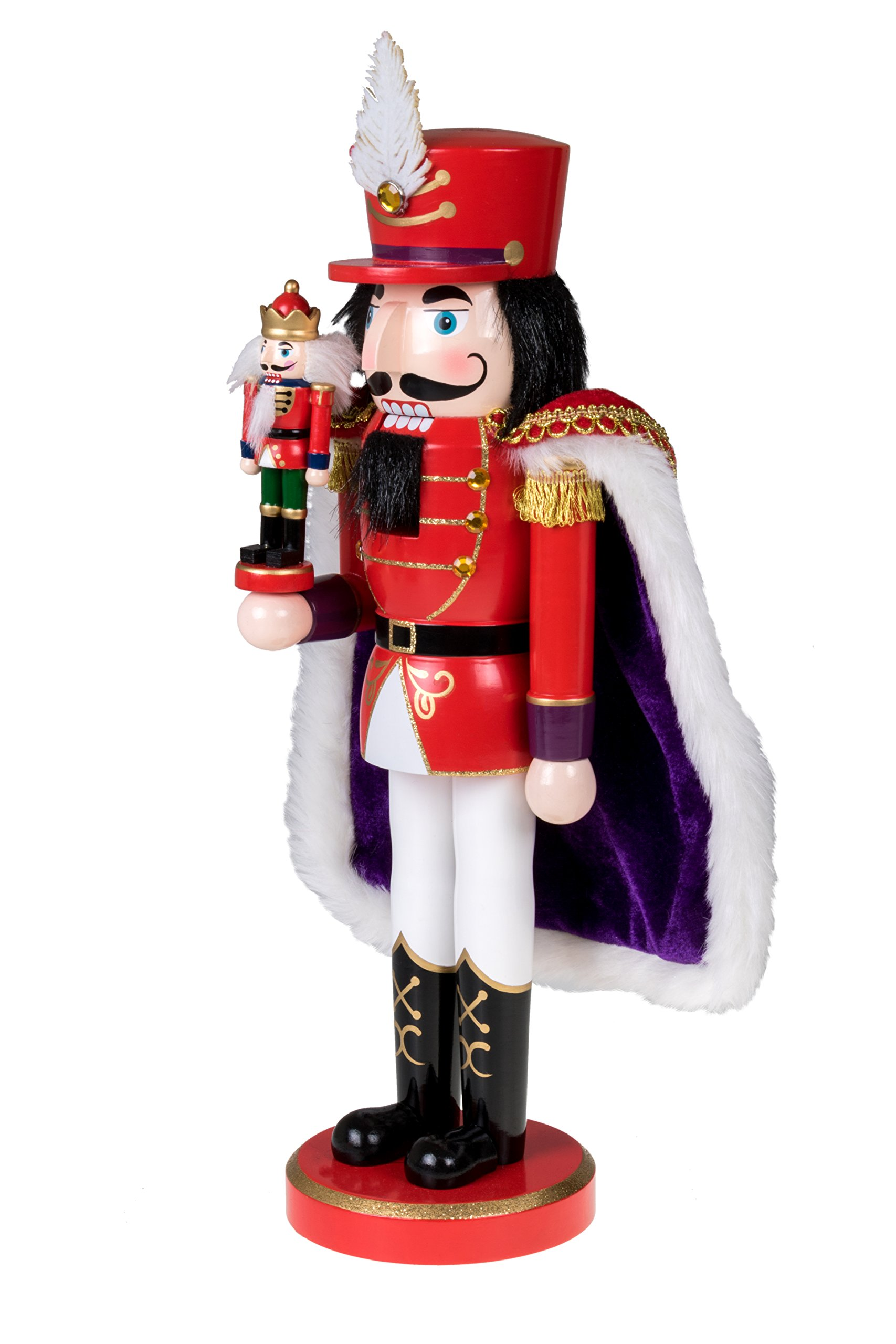 Clever Creations Red Prince Wooden Nutcracker Wearing Purple Cape Holding Toy Nutcracker Gift | Festive Decor | Perfect for Shelves and Tables | 100% Wood | 14'' Tall by Clever Creations (Image #4)