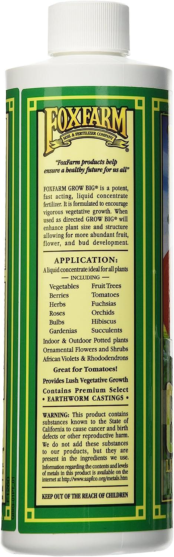 Fox Farm Grow Big Liquid Concentrate Fertilizer FX14092, 6-4-4