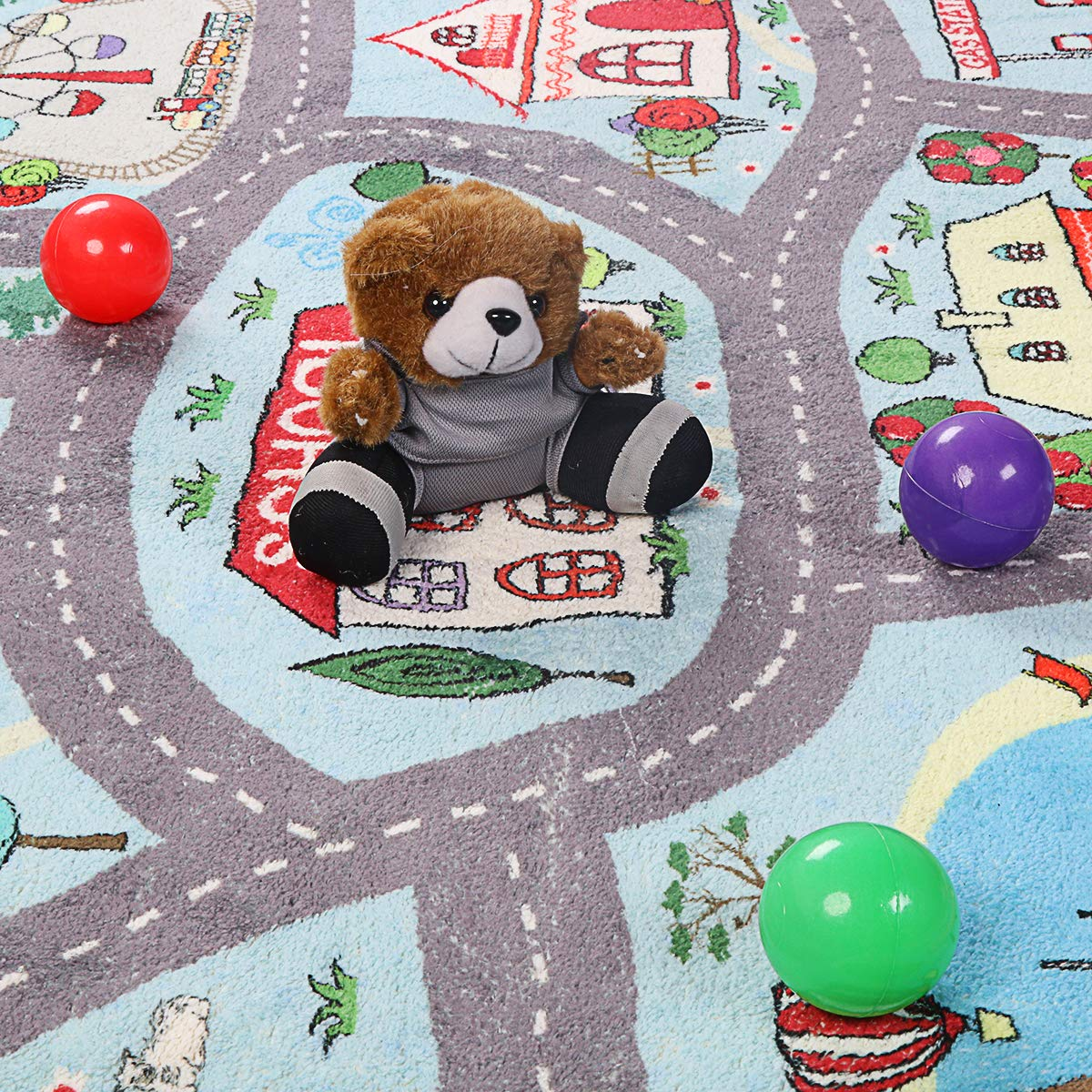 LIVEBOX Play Mat Faux Wool Kids Road Traffic Area Rugs 3 x 5 Non-Slip Childrens Crawling Carpet Colorful Educational /& Fun Throw Rug for Living Room Bedroom Playroom Nursery Decor Best Shower Gift