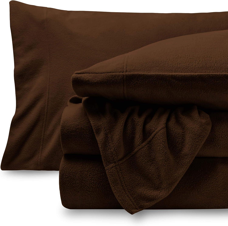 Bare Home Super Soft Fleece Sheet Set - Twin Extra Long Size - Extra Plush Polar Fleece, Pill-Resistant Bed Sheets - All Season Cozy Warmth, Breathable & Hypoallergenic (Twin XL, Cocoa)