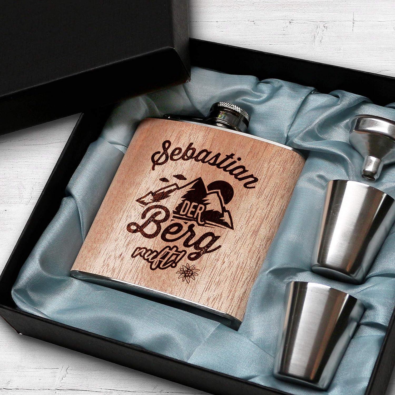 Pixelstudio Holz Flachmann mit Gravur Der Berg Ruft personalisiert mit Name Geschenkset Geschenk M/änner Outdoor Wandern Bergsteiger Geschenk