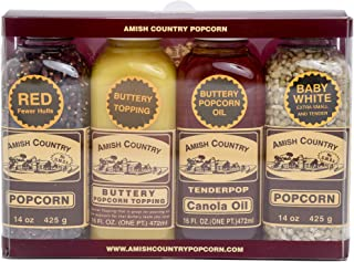 product image for Amish Country Popcorn | Variety Bundles - 14 oz Baby White & Red Popcorn, Canola Oil & Buttery Topping | Old Fashioned with Recipe Guide