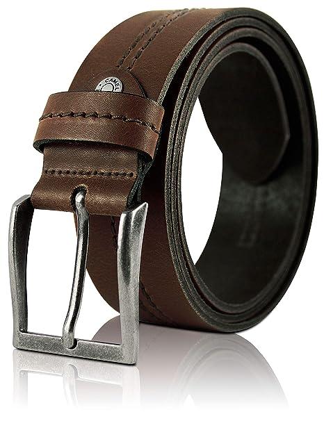 Camel Active Cinturón de cuero para hombre (colección 2018) marrón   4 cm de a6b3201752fa