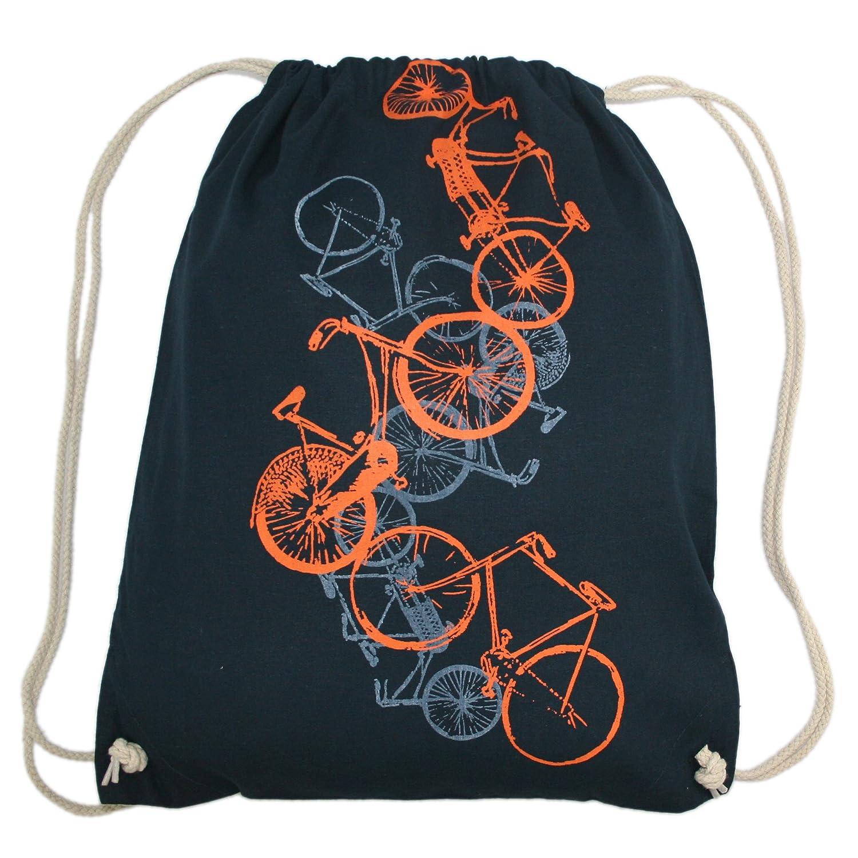 Turnbeutel Fahrrä der, Hipster Beutel, Tragetasche, Gymsac, Stringbag, Drawstring, Jutebeutel, Tasche, Rucksack, Handsiebdruck, navy, orange