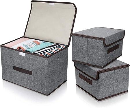 DIMJ Cajas Almacenaje con Tapa, Conjunto de 3 Cajas Organizadoras Plegable, Cubos de Almacenamiento con Asa, Organizadores de Contenedore para Ropa Juguetes Libros (Gris): Amazon.es: Hogar