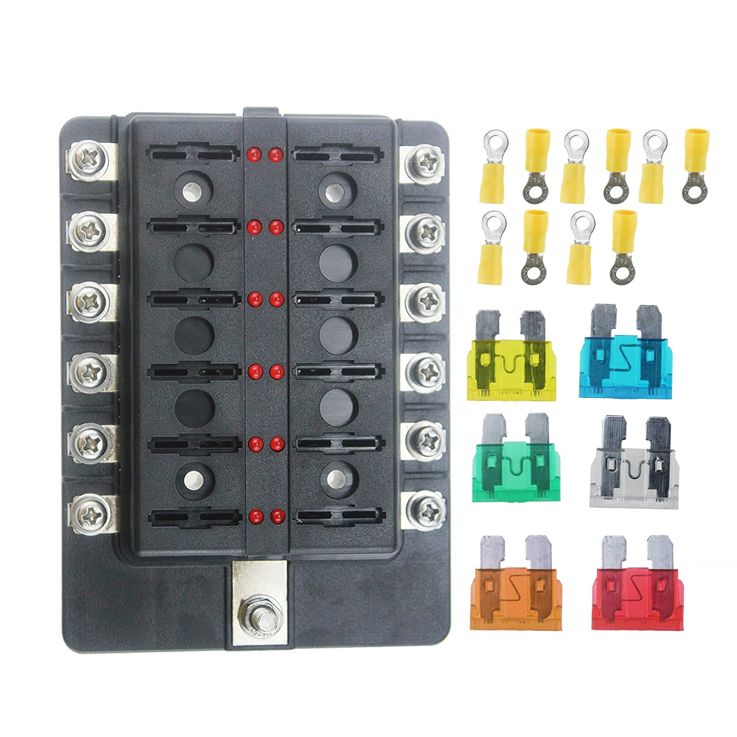 Iztoss 12 Circuit LED Fuse Block Fuse Box with screw terminal with accessories and kits for Car Boat Marine Trike