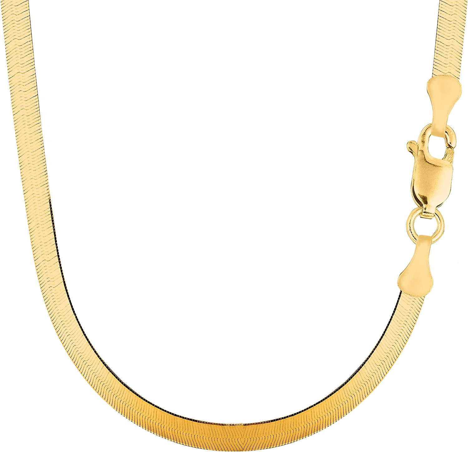 "Amazon.com: 14k Yellow Solid Gold Imperial Herringbone Chain Necklace,  6.0mm, 16"": Jewelry"