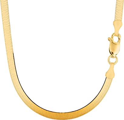 Amazon Com 14k Yellow Solid Gold Imperial Herringbone Chain Necklace 6 0mm 16 Jewelry
