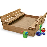 Covered Convertible Cedar Sandbox with Two Bench Seats