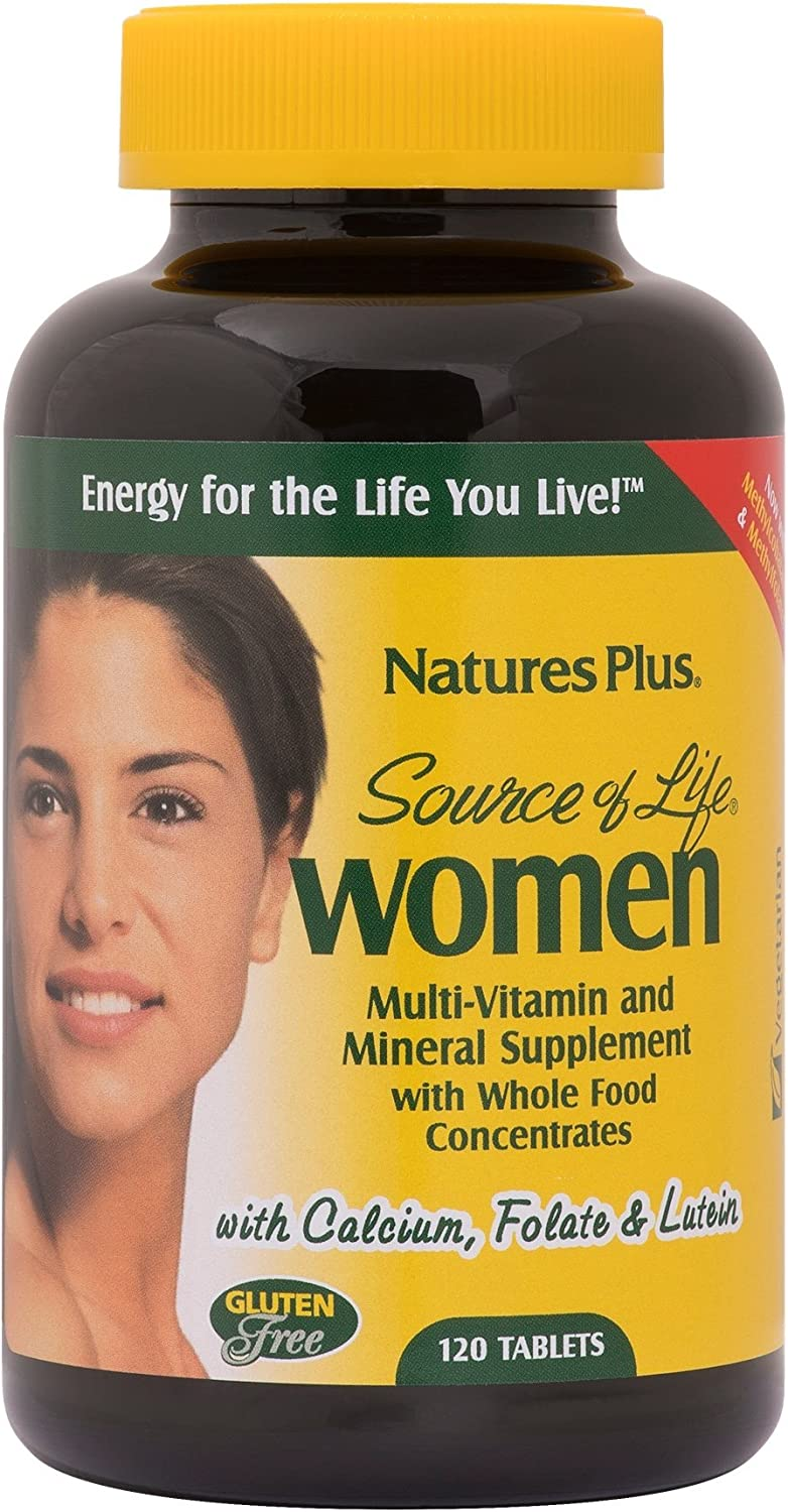 NaturesPlus Source of Life Women Multivitamin – 120 Vegetarian Tablets – Whole Foods, Enzymes Minerals – Overall Health, Energy – Gluten-Free – 60 Servings