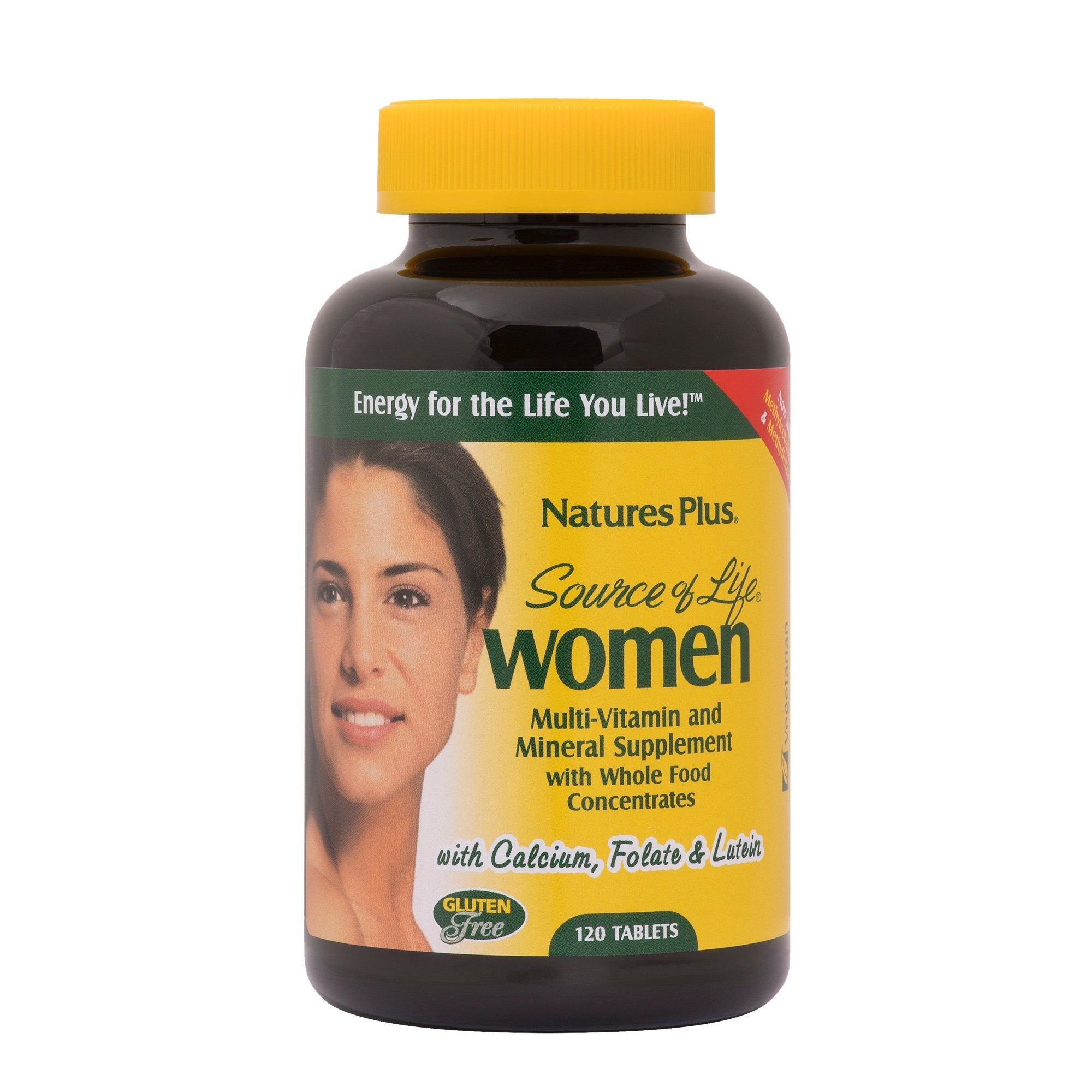 NaturesPlus Source of Life Women Multivitamin - 120 Vegetarian Tablets - Whole Foods, Enzymes & Minerals - Overall Health, Energy - Gluten-Free - 60 Servings