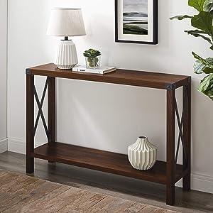 """WE Furniture Modern Farmhouse Console Entryway Hall Sofa Table with Storage, 46"""", Dark Walnut"""