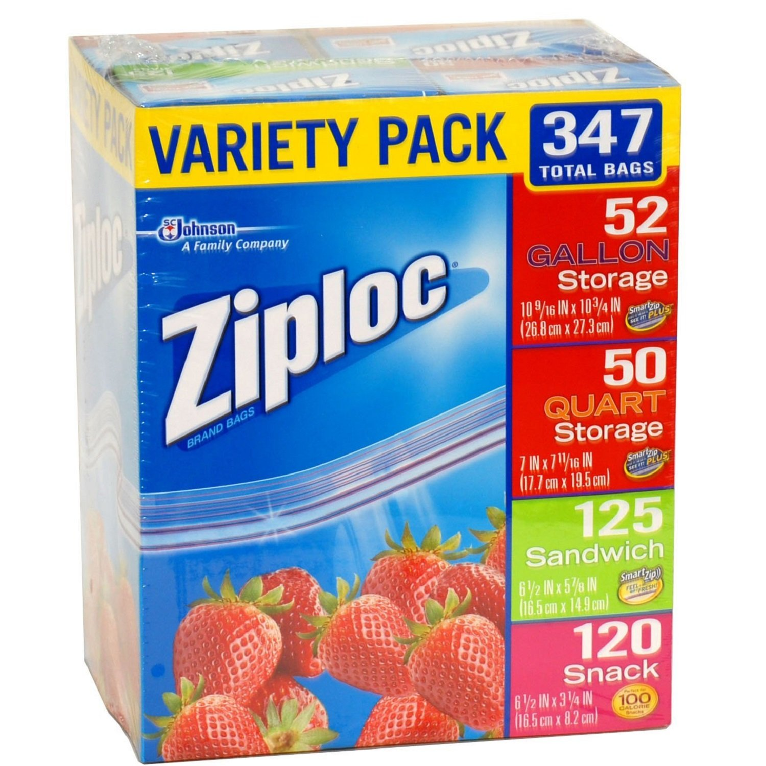 Ziploc Gallon, Quart, Sandwich, And Snack Storage Bags   Variety Pack   347 Total by Ziploc