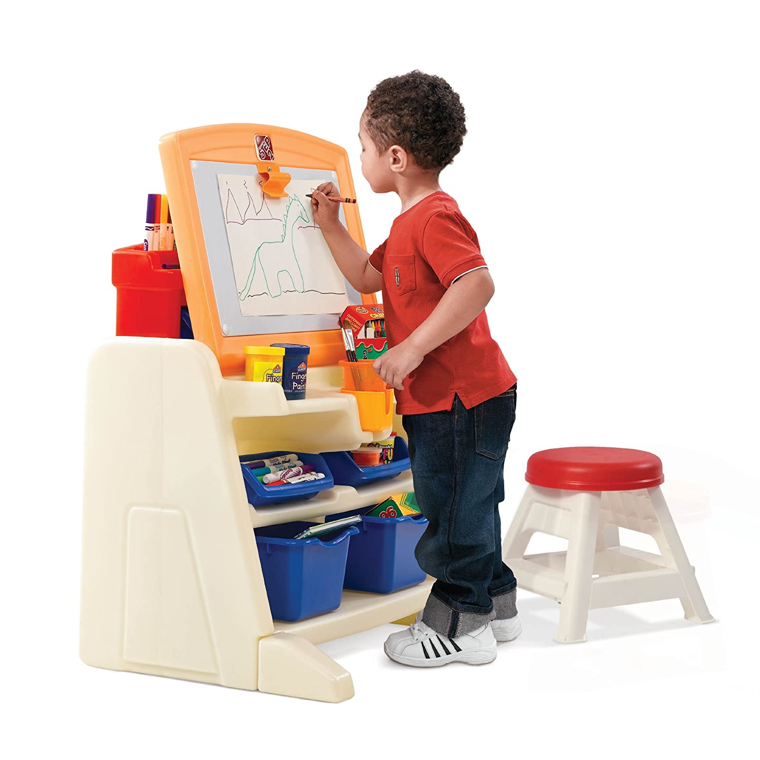 Amazon.com: Step2 Flip and Doodle Easel Desk with Stool: Toys & Games