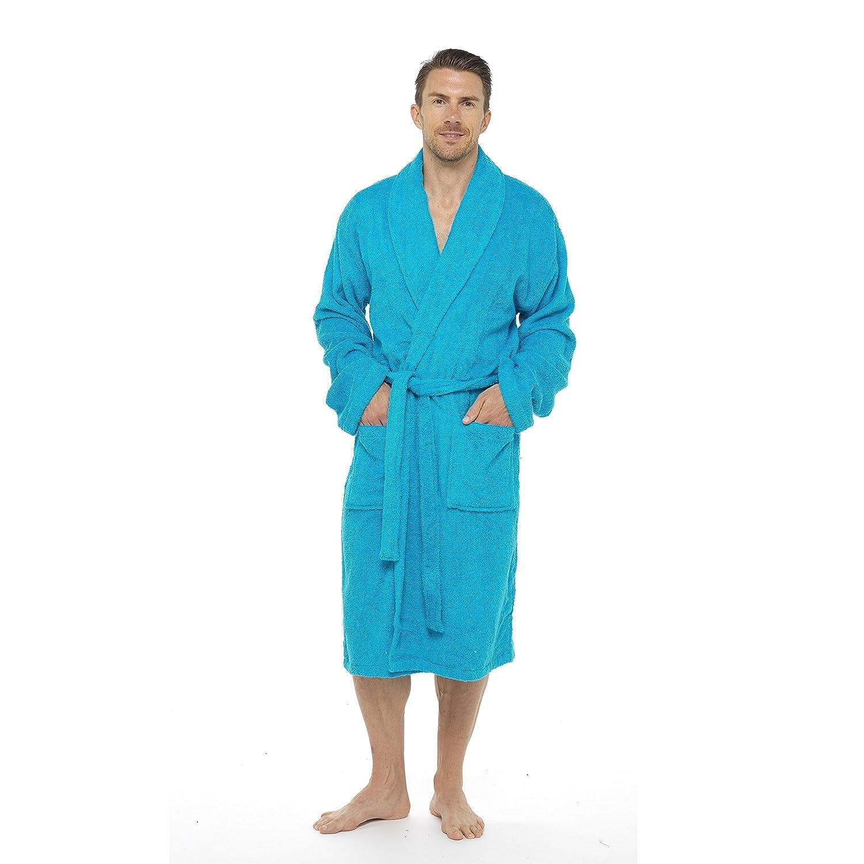 Men Towelling Robe 100% Cotton Terry Towel Shawl Collar Bathrobe ...