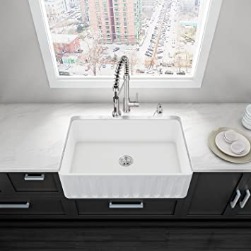 VIGO 33 inch Farmhouse Apron Single Bowl Matte Stone Kitchen Sink ...