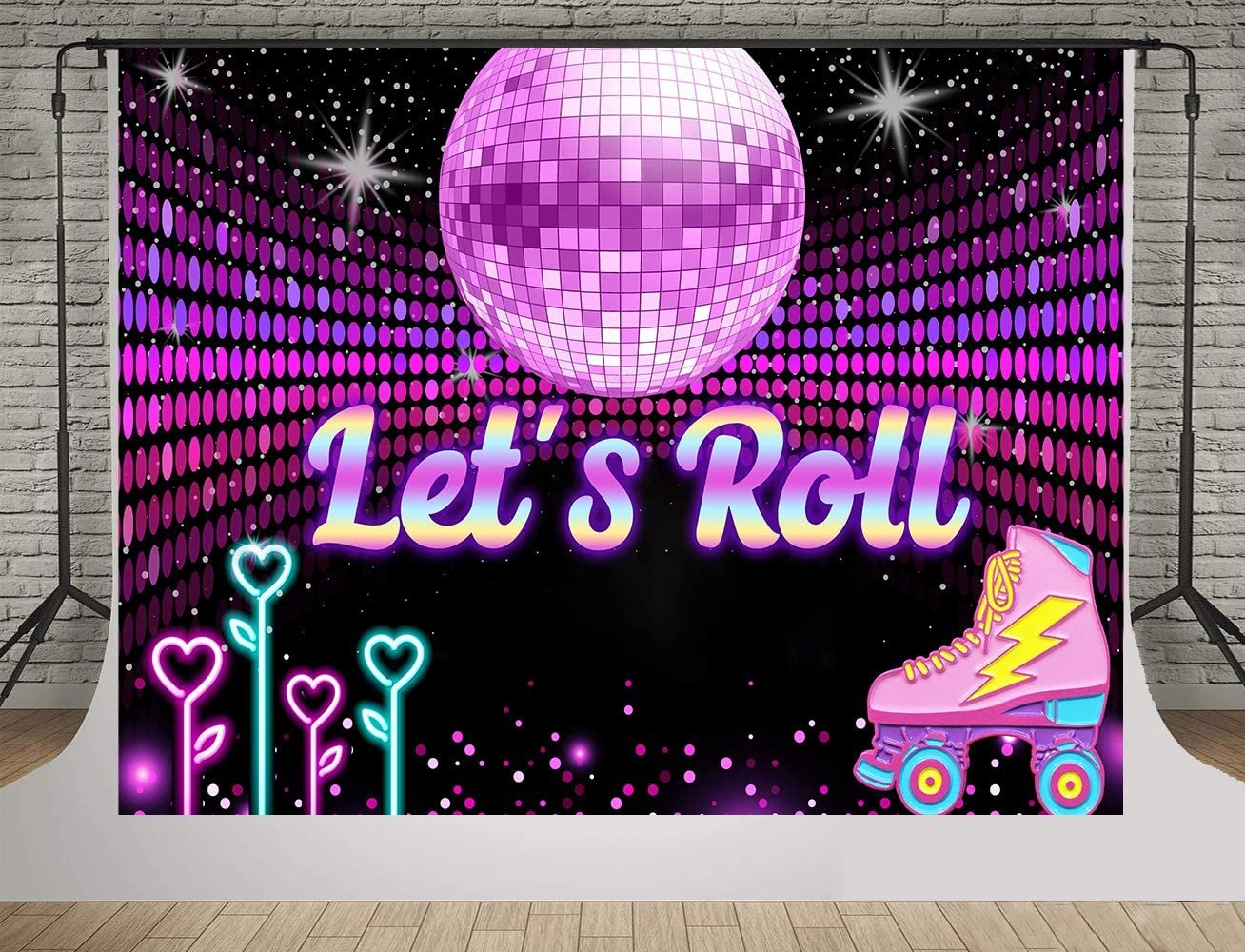SDDSER Disco Dancing Backdrops for Dance Entertainment Background Photography 7X5FT Colorful Heart Shaped Dance Lamp Photo Backgrounds Stand Party Wall Paper Room Mural Props Soft Cotton MSDLS292
