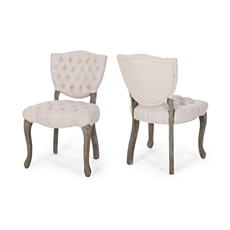 Groovy Case Tufted Dining Chair With Cabriole Legs Set Of 2 Beige And Brown Washfinish Gamerscity Chair Design For Home Gamerscityorg