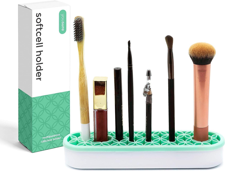 Multipurpose Silicone Organizer, Makeup Organizer, Brush Holder, Pen Holder, Sturdy Toothbrush Holder for Kids, Lipstick Holder for Vanity, Secure Cells Hold Each Item, No Falling