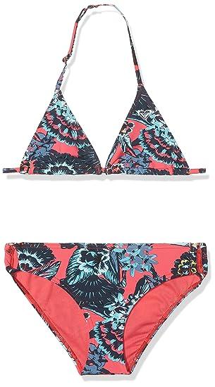 Roxy Let The Surf Tiki Tri Conjunto Bikini, Niñas, Rosa (Rojo/Stripe_3