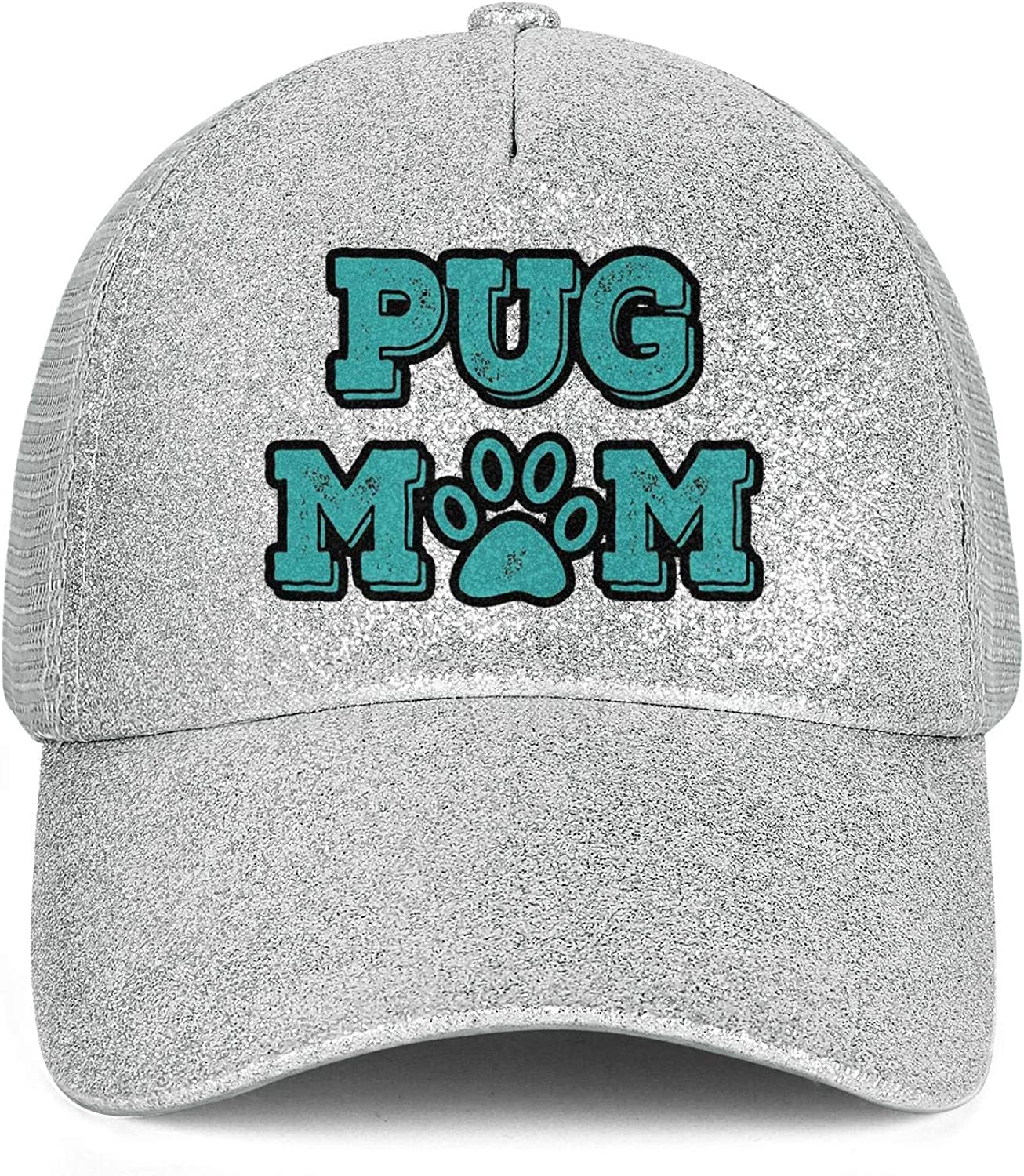 Pug Mom Paw Women High Ponytail Baseball Cap Glitter Adjustable Novelty Hat