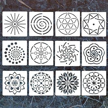Plantillas de 12 plantillas Mandala, plantillas de puntos, plantillas de mandala, plantillas para pintar sobre madera, aerógrafo y paredes: Amazon.es: Hogar