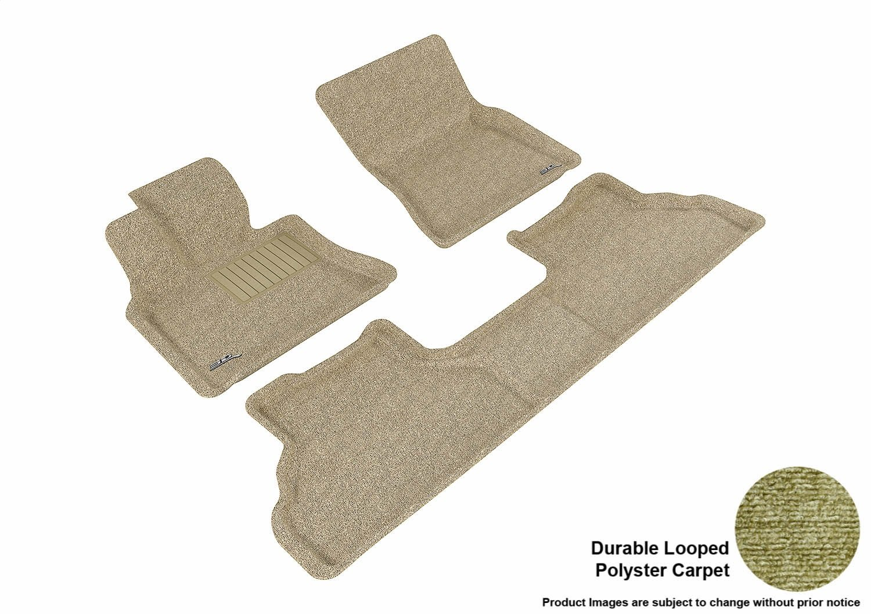 Tan E71 Classic Carpet Models 3D MAXpider Complete Set Custom Fit All-Weather Floor Mat for Select BMW X6