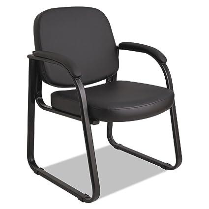 Alera ALERL43C16 Genaro Series Sled Base Guest Chair, Black Vinyl