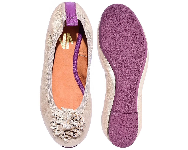 VIDALeather Pom Pom Women Ballet Colombian Leather Flats   Zapatillas de DAMA B01K3BTC4U 7 B(M) US Gold