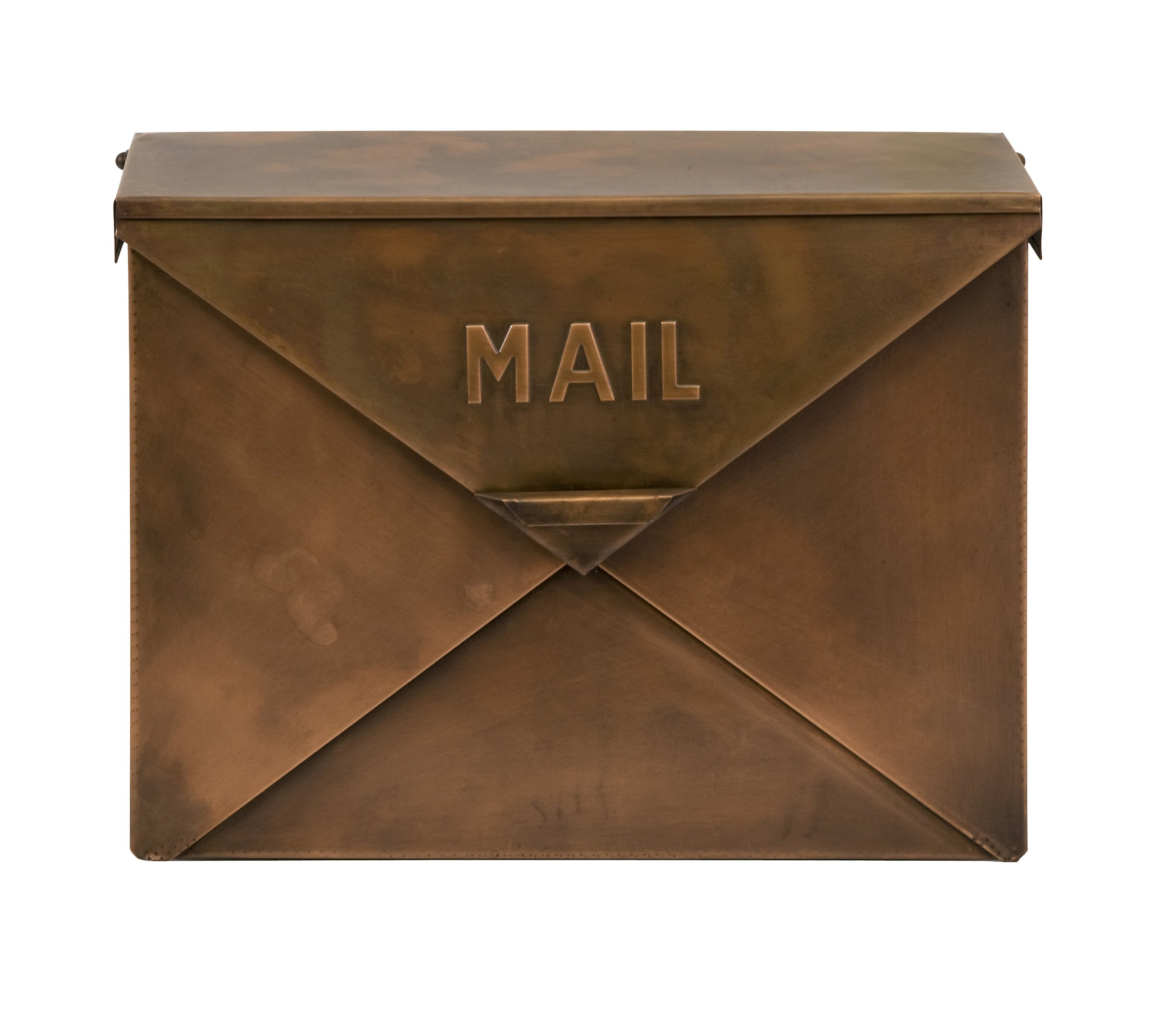 CC Home Furnishings 16'' Unique Envelope Style Rustic Copper Colored Decorative Mail Box by imax