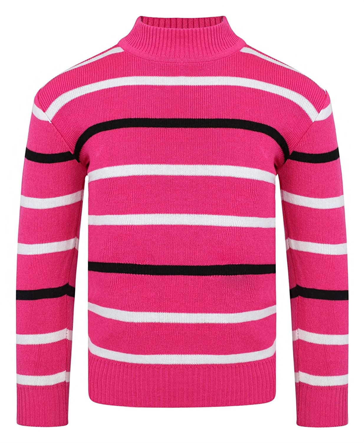 LotMart Girls Striped Knitted Jumper Kids Long Sleeve Zip up Sweater Knit Top